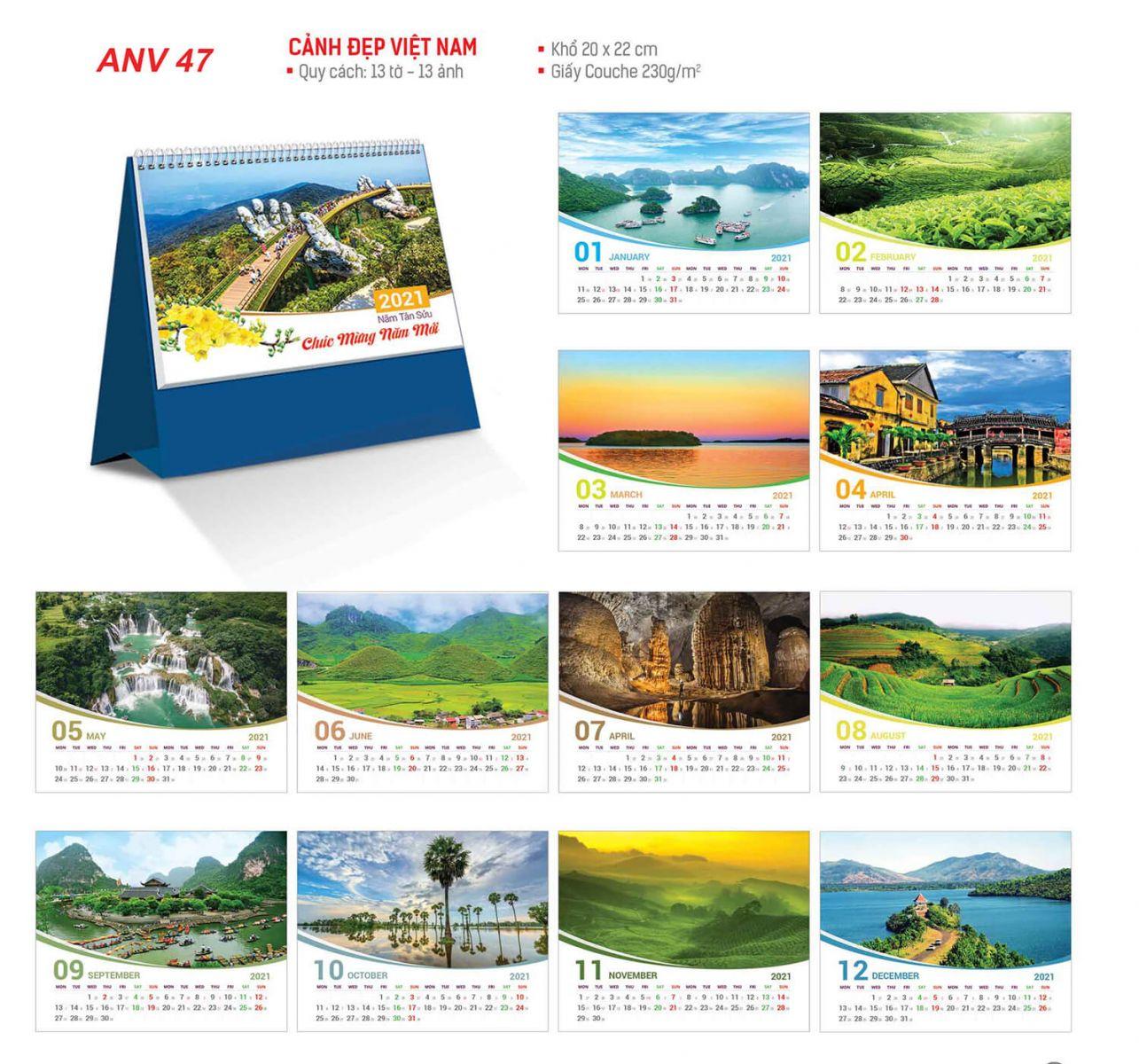 in lich tet Cảnh đẹp Việt Nam ANV 47 A&B