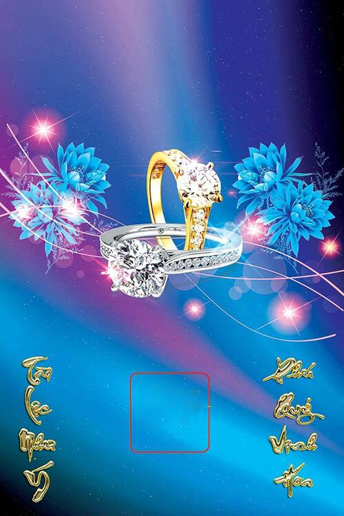 in lich tet Bìa laminate nhẫn kim cương AT